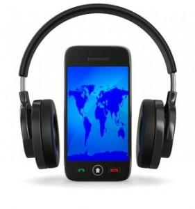 iPod com Headfone ao redor